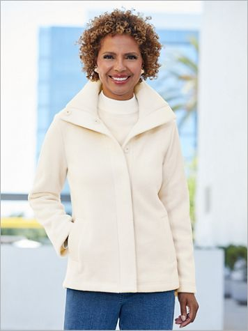 Snap Front Long Sleeve Fleece Coat - Image 1 of 3