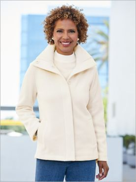 Snap Front Long Sleeve Fleece Coat