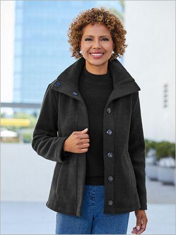 Snap Front Long Sleeve Fleece Coat - Image 2 of 3