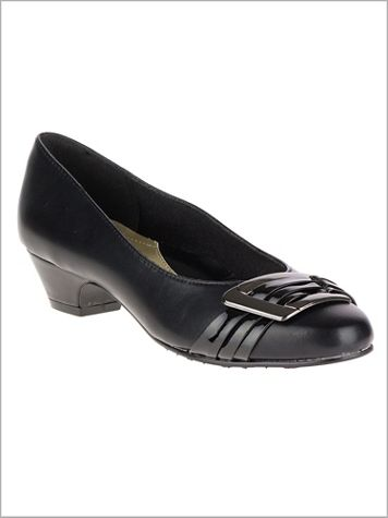 Black Pleats Be With You Pump by Soft Style® - Image 2 of 2