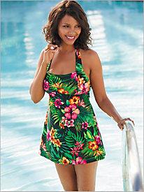 Palm Floral Swim Dress