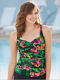 Palm Floral Ruched Swim Top