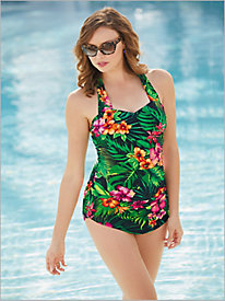 Palm Floral One-Piece Swimsuit