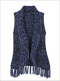 Marled Fringe Sweater Vest