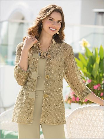 Mandarin Marled Mesh Big Shirt - Image 1 of 4