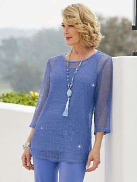 Sequin Mesh Tunic Top