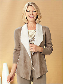 Sherpa Knit Jacket by Alfred Dunner