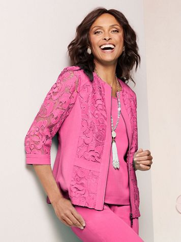 Lovely Linen And Lace Jacket - Image 1 of 5