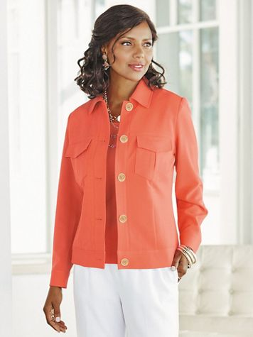 Look-Of-Linen Classic Long Sleeve Jacket - Image 1 of 6