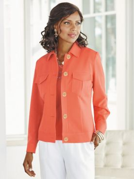 Look-Of-Linen Classic Long Sleeve Jacket