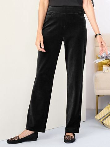 Premium Velour Straight Leg Pull-On Pants by D&D Lifestyle™