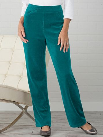 Premium Velour Straight Leg Pull-On Pants by D&D Lifestyle™ - Image 1 of 2