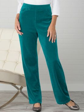 Premium Velour Straight Leg Pull-On Pants by D&D Lifestyle™