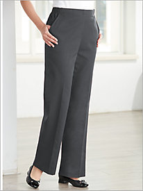 Stretch Washable Wool Flat-Front Pants