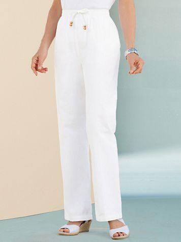 Cotton Drawstring Straight-Leg Pull-On Denim Jeans - Image 1 of 5