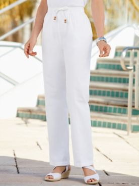 Cotton Drawstring Straight-Leg Pull-On Denim Jeans
