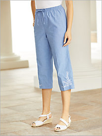 Novelty Chambray Crop Pants