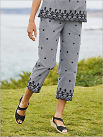 Embroidered Gingham Crop Pants
