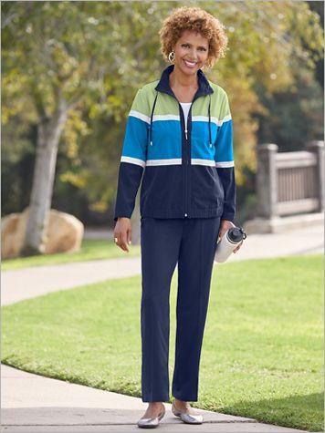 Colorblock Modern Microfiber Jacket & Pants Set by D&D Lifestyle™ - Image 1 of 2