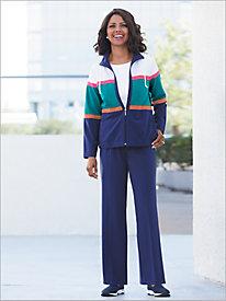 Colorblock Modern Microfiber Jacket & Pants Set by D&D Lifestyle™