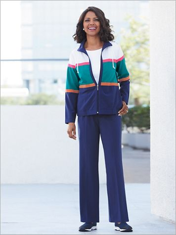 Colorblock Modern Microfiber Jacket & Pants Set by D&D Lifestyle™ - Image 0 of 2