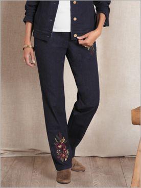 Slimtacular® Decorated Denim Pants
