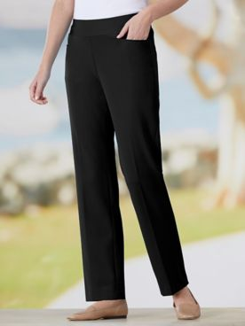 Bi-Stretch Straight Leg Pull-On Pants
