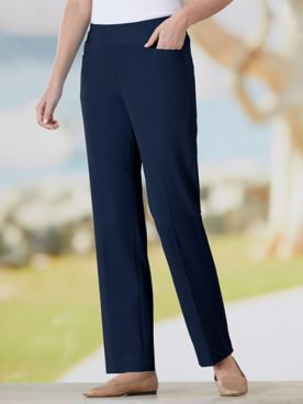 Bi-Stretch Straight Leg Pull-On Pants