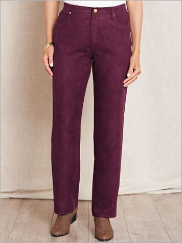 Microsuede Zip-Front Pants - Image 1 of 7