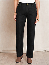 Microsuede Zip-Front Pants
