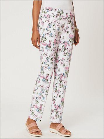 De-Luxe Denim Print Slim Leg Pants