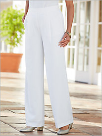 Textured Stretch Crepe Wide Leg Pants