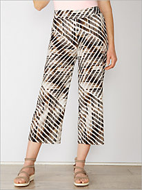 Modern Stripe Crepe Cropped Pants