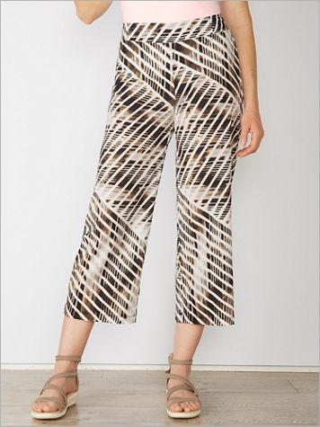 Modern Stripe Crepe Cropped Pants - Image 4 of 4