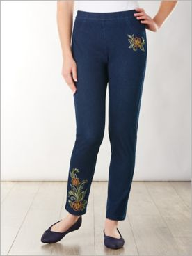 Lake Tahoe Embroidered Knit Denim Pants by Alfred Dunner