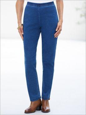 Comfort Knit Denim Slim-Leg Pants