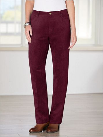 Microsuede Zip-Front Pants - Image 1 of 5