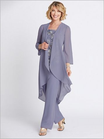 Floral Embroidered Duster Pants Set - Image 1 of 4