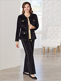 Glamour Quilted Velour Jacket & Pants Set
