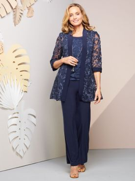 Floral Soutache Duster Jacket & Pant Set