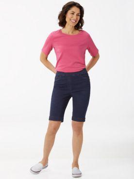 Essential Jewel Neck Tee & Slimtacular® Denim Shorts
