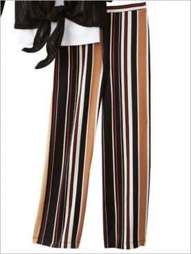 Stripe Print Knit Ankle Pants by Ruby Rd.