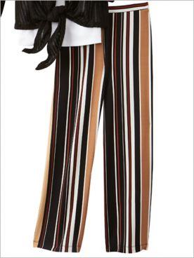 Stripe Print Knit Ankle Pants by Ruby Rd.