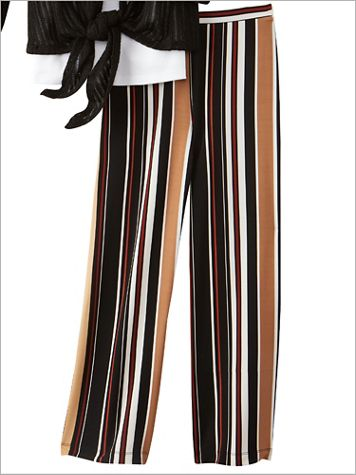 Stripe Print Knit Ankle Pants by Ruby Rd. - Image 2 of 2