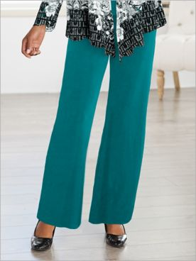 Premium Knit Wide Leg Pull-On Pants