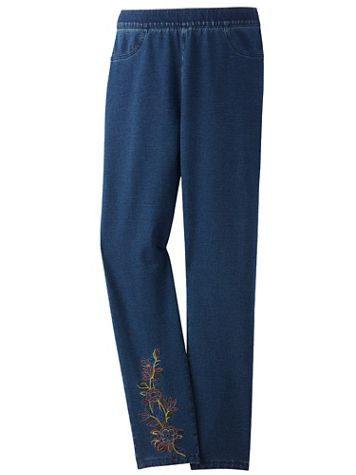 Embroidered Comfort Knit Denim Pants