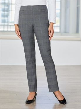 Plaid About You Straight Leg Pull-On Pants
