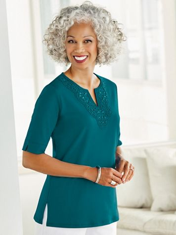 Tropic Crochet And Beaded Neckline Short Sleeve Tee - Image 1 of 6