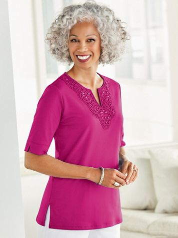 Tropic Crochet And Beaded Neckline Short Sleeve Tee - Image 1 of 7