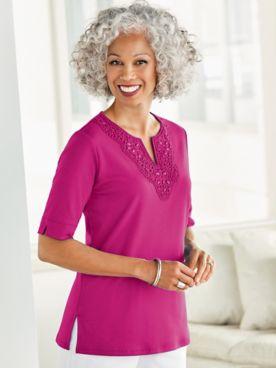 Tropic Crochet And Beaded Neckline Short Sleeve Tee